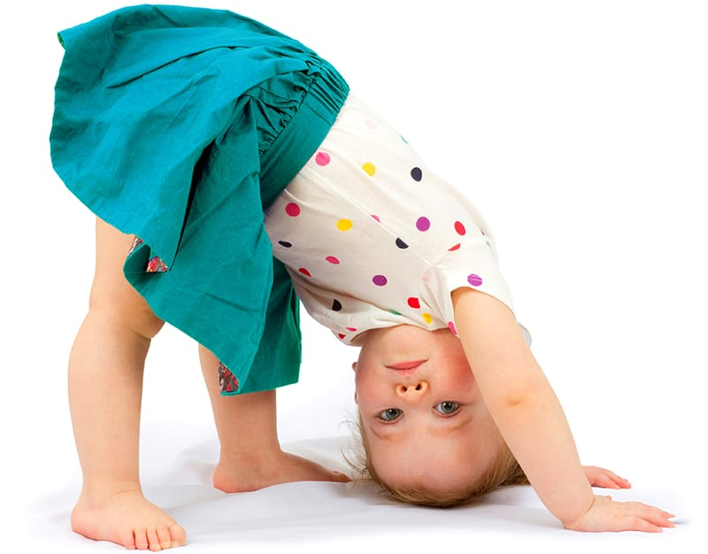 toddler stretching at daycare