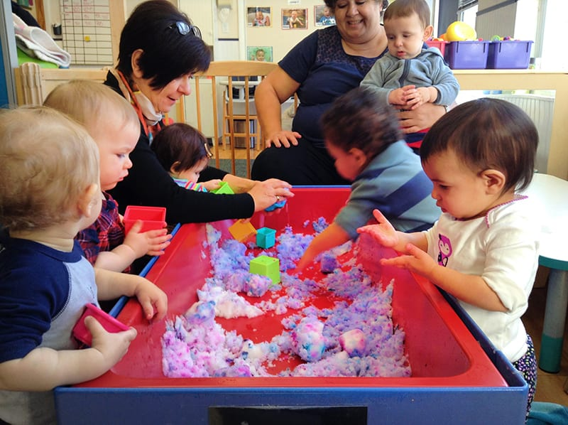 toddlers learning about shapes at preschool