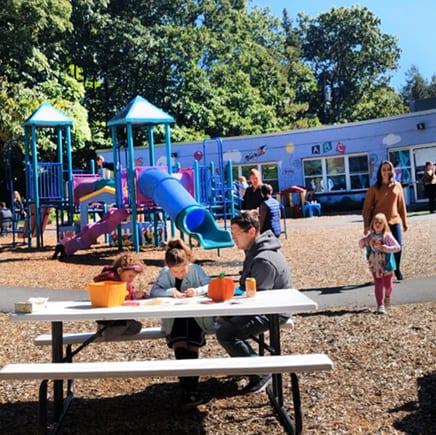 outdoor seating at preschool